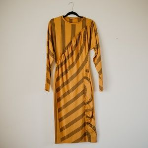 Zara Marigold Long Sleeve Geo-texture dress